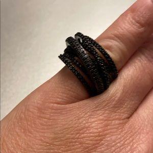 925 14KT Gold Dipped Black Topaz Pave Engagement